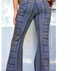 Free People Stripped Blue Bell Bottoms